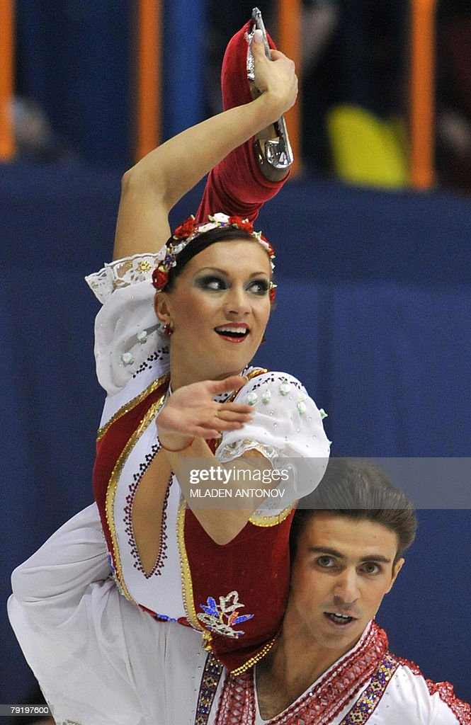 Ukraine's Anna Zadorozhniuk and Sergei Verbillo perform their original dance at the Dom Sportova Arena in Zagreb, 24 January 2008, during the European Figure Skating Championships 2008.