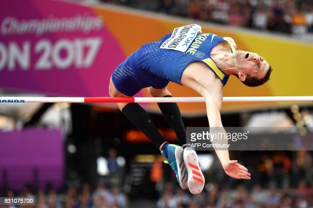 TOPSHOT Ukraine's Bohdan Bondarenko competes in the final of the men's high jump athletics event at the 2017 IAAF World Championships at the London...