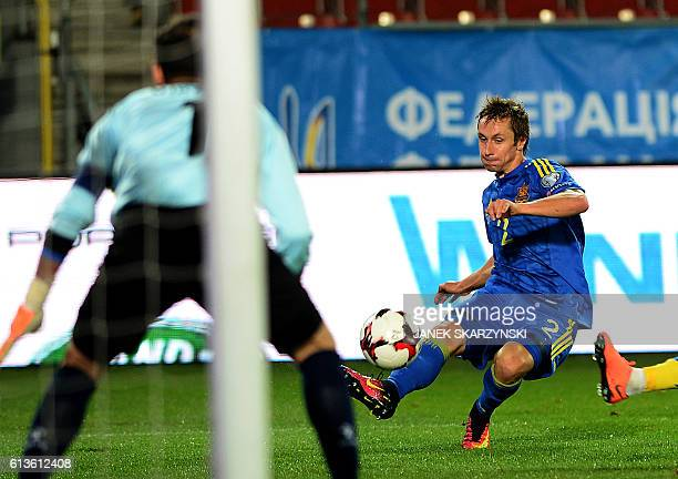 Ukraine's Bohdan Butko tries to score during the 2018 World Cup qualifier football match of Ukraine vs Kosovo in Krakow Poland on October 9 2016 /...