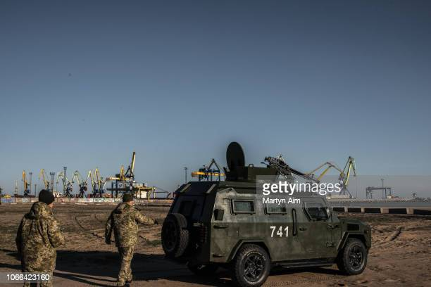 Ukraine's Border Security Force patrols the coast of the Azov Sea near Mariupol Port as President Poroshenko declares martial law in response to the...