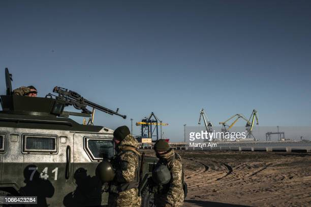 Ukraine's Border Security Force patrols the coast of the Azov Sea near Mariupol Port as President Poroshenko declares martial law in response to the...