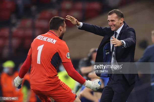 Ukraine's coach Andrey Shevchenko celebrates with Ukraine's goalkeeper Georgiy Bushchan during the UEFA EURO 2020 round of 16 football match between...
