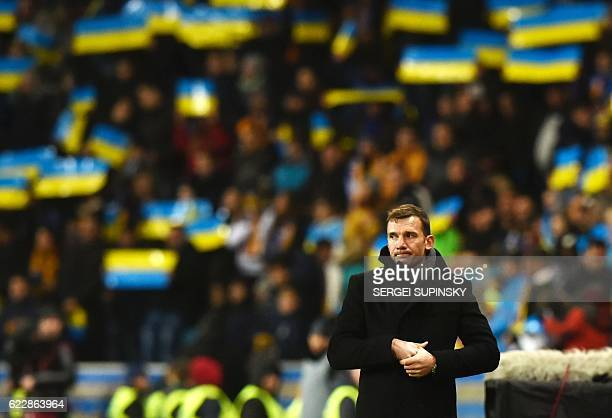 Ukraines coach Andriy Shevchenko looks on during the 2018 World Cup football qualifying match between Ukraine and Finland at Chernomorets stadium in...