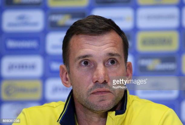 Ukraines coach Andriy Shevchenko speaks at a press conference before the World Cup Group I qualifying soccer match between Ukraine and Croatia at the...