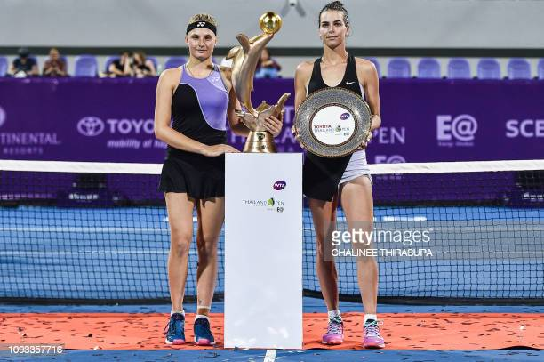 Ukraine's Dayana Yastremska and Australia's Ajla Tomljanovic pose during the presentation ceremony at the end of the final match at the WTA Thailand...