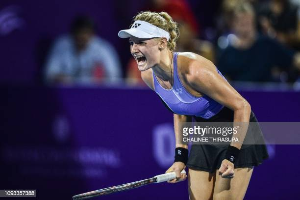 Ukraine's Dayana Yastremska celebrates after defeating Australia's Ajla Tomljanovic during the final of the WTA Thailand Open tennis tournament in...