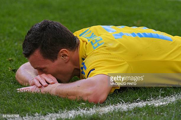 Ukraine's defender Artem Fedetskiy reacts during the Euro 2016 group C football match between Ukraine and Poland at the Velodrome stadium in...