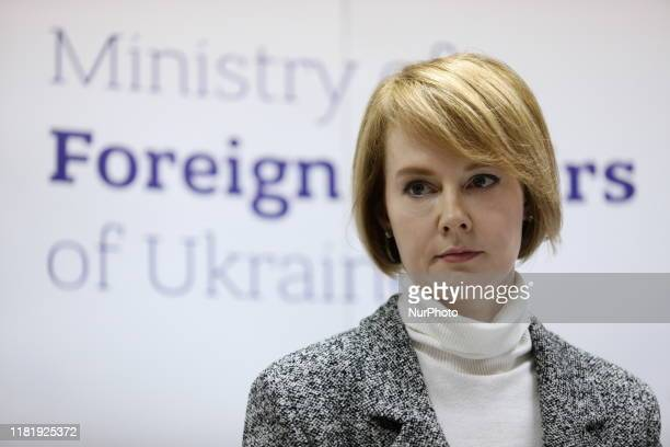 Ukraine's Deputy Foreign Minister Olena Zerkal during a speech to the press at a briefing in Kiev. Ukraine, Tuesday, November 12, 2019 The UN...
