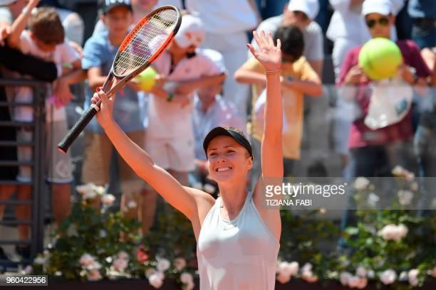 Ukraine's Elina Svitolina celebrates after winning the women's final against Romania's Simona Halep at Rome's WTA Tennis Open tournament at the Foro...