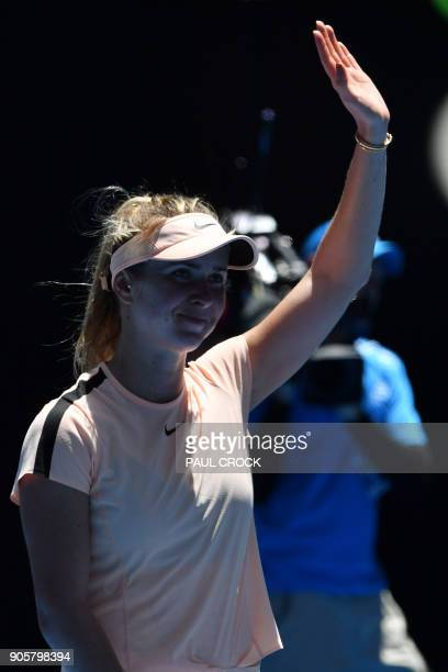 Ukraine's Elina Svitolina celebrates her victory against Czech Republic's Katerina Siniakova during their women's singles second round match on day...