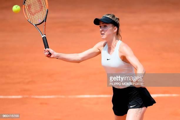 Ukraine's Elina Svitolina hits a return during the women's final against Romania's Simona Halep at Rome's WTA Tennis Open tournament at the Foro...