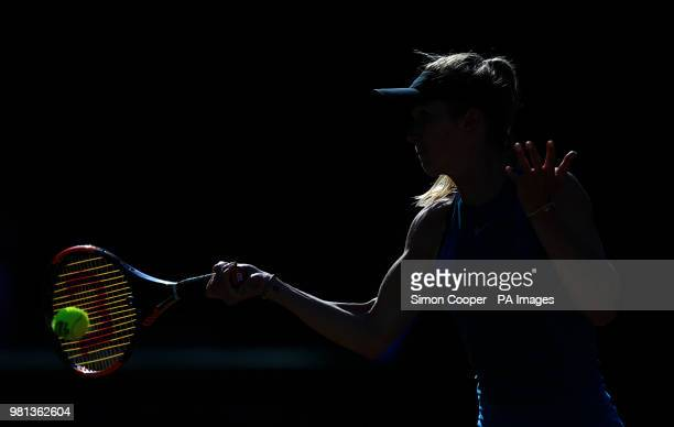 Ukraine's Elina Svitolina in action during her quarter final against Romania's Mihaela Buzarnescu during day five of the Nature Valley Classic at...
