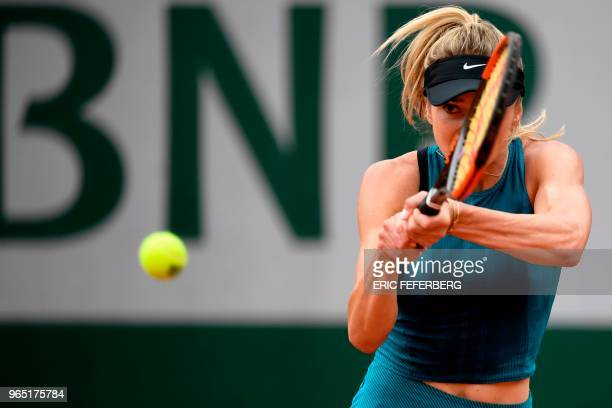 Ukraine's Elina Svitolina plays a backhand return to Romania's Mihaela Buzarnescu during their women's singles third round match on day six of The...