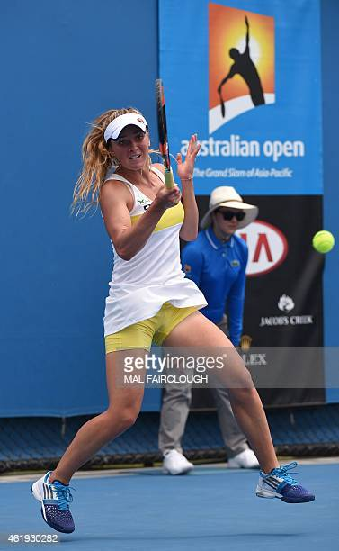 Ukraine's Elina Svitolina plays a shot during her women's singles match against Nicole Gibbs of the US on day four of the 2015 Australian Open tennis...