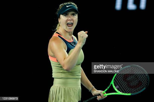 Ukraine's Elina Svitolina reacts after a point against Coco Gauff of the US during their women's singles match on day four of the Australian Open...