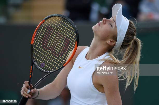 Ukraine's Elina Svitolina reacts against Germany's Tatjana Maria during their women's singles first round match on the first day of the 2018...
