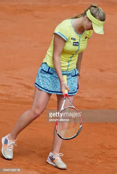 Ukraine's Elina Svitolina reacts during the semifinal match against CzechRepublic's Pliskova at the WTAtour in Nuremberg Germany 23 May 2014 Photo...