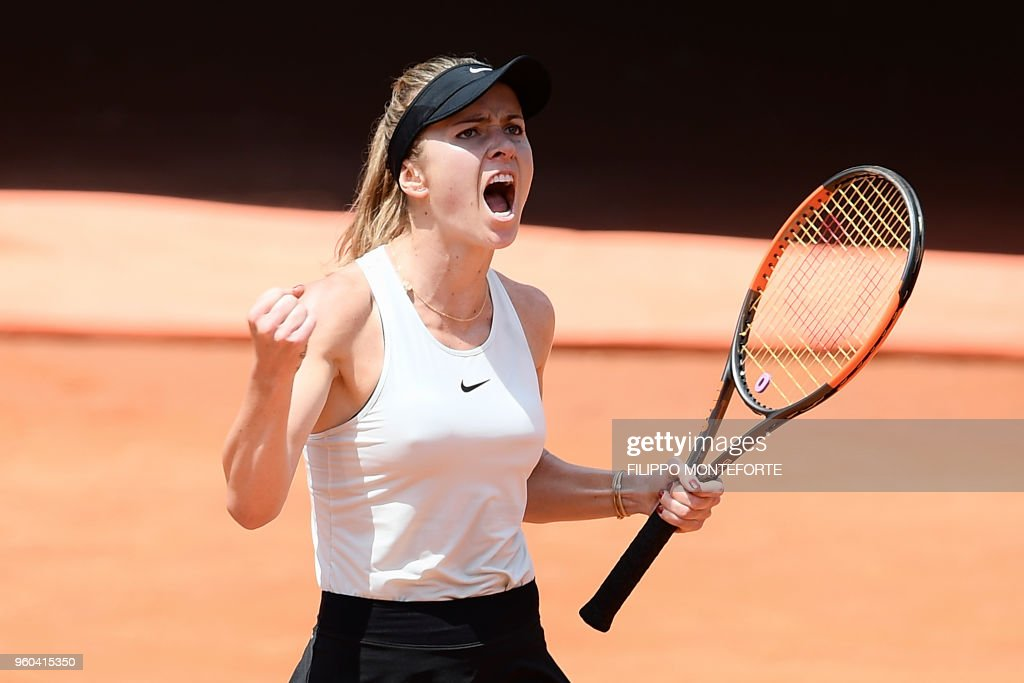 Ukraine's Elina Svitolina reacts during the women's final against Romania's Simona Halep at Rome's WTA Tennis Open tournament at the Foro Italico, on May 20, 2018 in Rome.