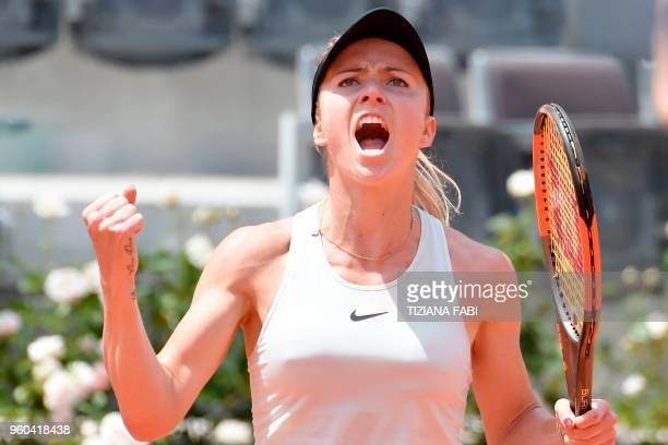 TOPSHOT Ukraine's Elina Svitolina reacts during the women's final against Romania's Simona Halep at Rome's WTA Tennis Open tournament at the Foro...