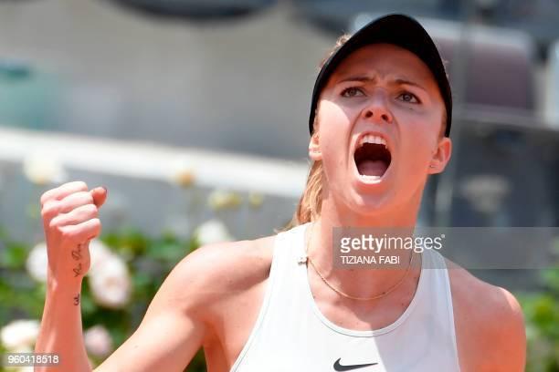 Ukraine's Elina Svitolina reacts during the women's final against Romania's Simona Halep at Rome's WTA Tennis Open tournament at the Foro Italico on...