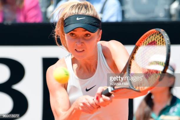 Ukraine's Elina Svitolina returns the ball to Romania's Simona Halep during the women's final at Rome's WTA Tennis Open tournament at the Foro...