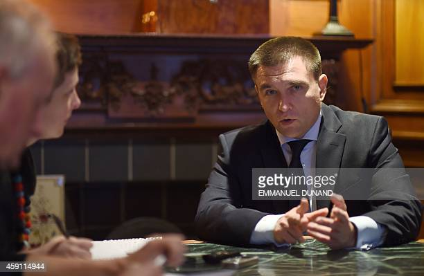 Ukraine's Foreign Minister Pavlo Klimkin gives an exclusive interview to Agence FrancePresse reporters Alix Rijckaert and Bryan McManus in Brussels...