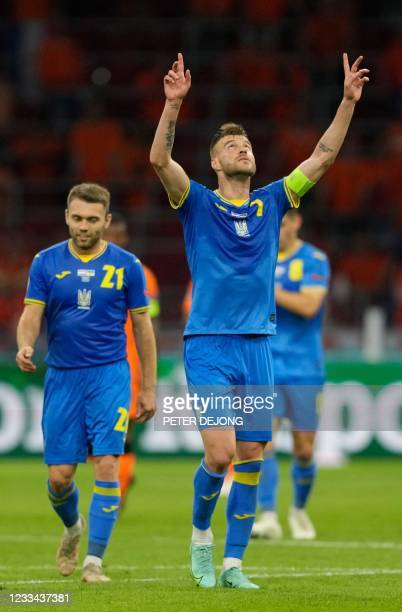 Ukraine's forward Andriy Yarmolenko celebrates his first goal during the UEFA EURO 2020 Group C football match between the Netherlands and Ukraine at...