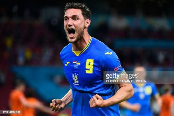 Ukraine's forward Roman Yaremchuk celebrates after scoring the second goal during the UEFA EURO 2020 Group C football match between the Netherlands...