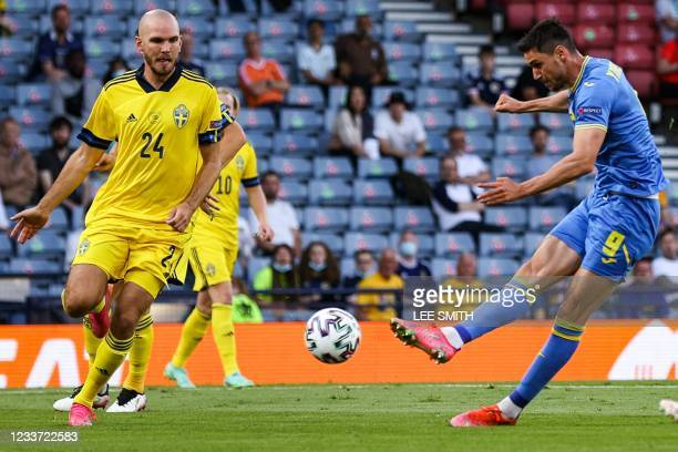 Ukraine's forward Roman Yaremchuk shoots but doesn't score during the UEFA EURO 2020 round of 16 football match between Sweden and Ukraine at Hampden...