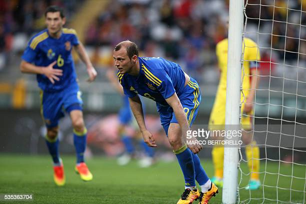 Ukraine's forward Roman Zozulya celebrates after scoring during the international friendly football match between Romania and Ukraine at Grande...