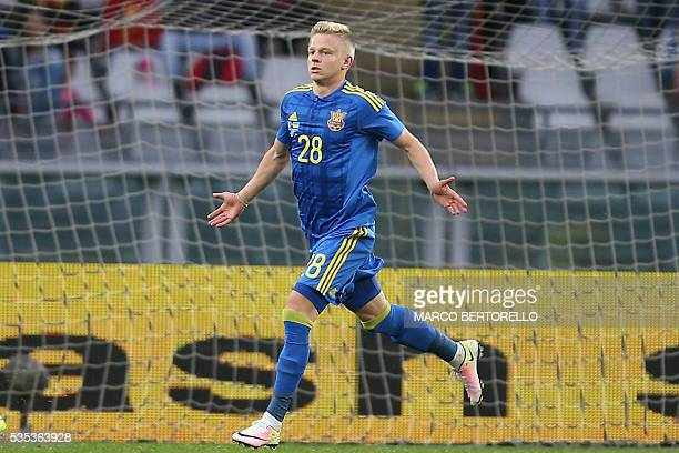 Ukraine's forward Zinchenko Oleksandr celebrates after scoring during the international friendly football match between Romania and Ukraine at...