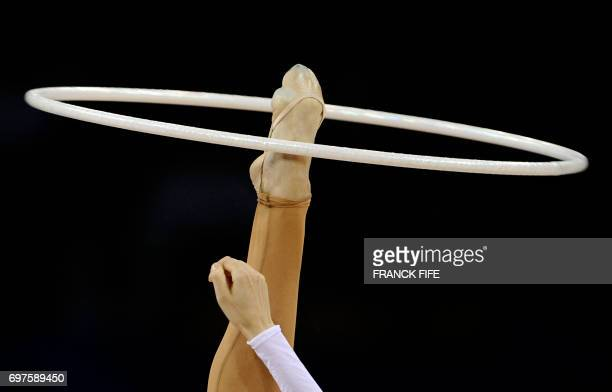 Ukraine's Ganna Bessonova competes in the individual allaround final of the rhythmic gymnastics at the Beijing 2008 Olympic Games in Beijing on...