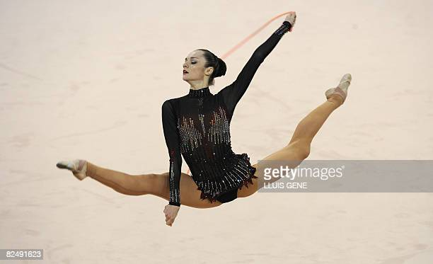 Ukraine's Ganna Bessonova competes in the individual allaround qualification of the rhythmic gymnastics at the Beijing 2008 Olympic Games in Beijing...