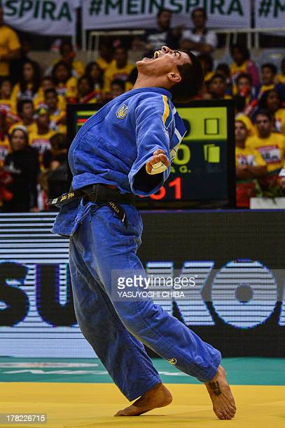 Ukraine's Georgii Zantaraia reacts after defeating Russia's Mikhail Pulyaev in the bronze medal of the Men's 66kg category of the IJF World Judo...