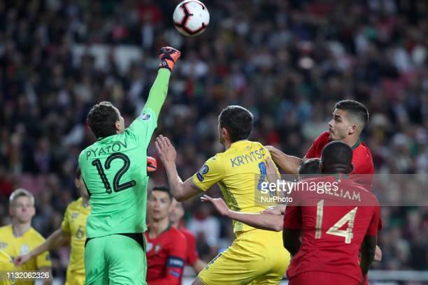 Ukraine's goalkeeper Andriy Pyatov in action during the UEFA EURO 2020 group B qualifying football match Portugal vs Ukraine at the Luz Stadium in...