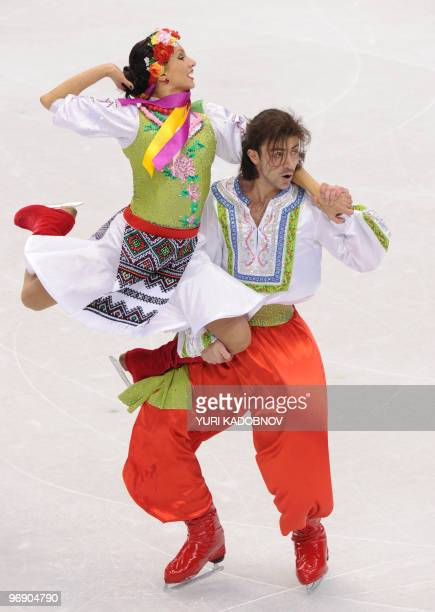 Ukraine's ice dancers Anna Zadorozhniuk and Sergei Verbillo perform during a training session at the Pacific Coliseum in Vancouver on February 20...