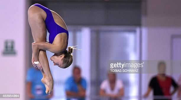 Ukraine's Iuliia Prokopchuk competes to in the women's 10m Platform final at the 32nd LEN European swimming championships on August 22 2014 in Berlin...