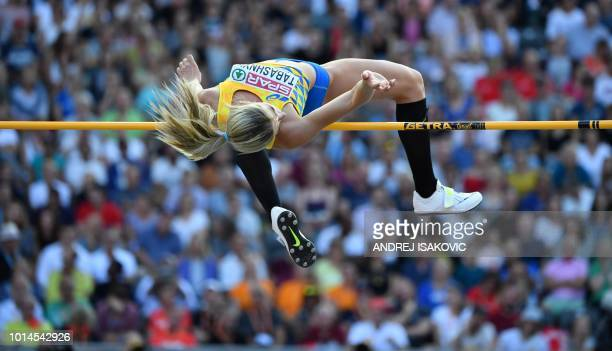 Ukraine's Kateryna Tabashnyk competes in the women's High Jump final during the European Athletics Championships at the Olympic stadium in Berlin on...