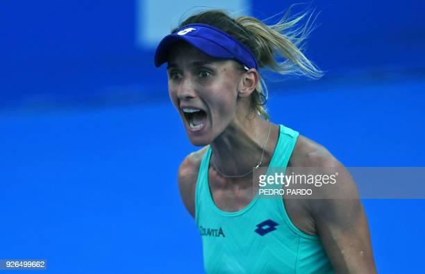 Ukraine's Lesia Tsurenko celebrates after winning against Australia's Daria Gavrilova during their Mexico WTA Open women's singles semifinal tennis...