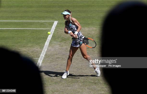 Ukraine's Lesia Tsurenko in action during her quarter final against Czech Republic's Barbora Strycova during day five of the Nature Valley Classic at...