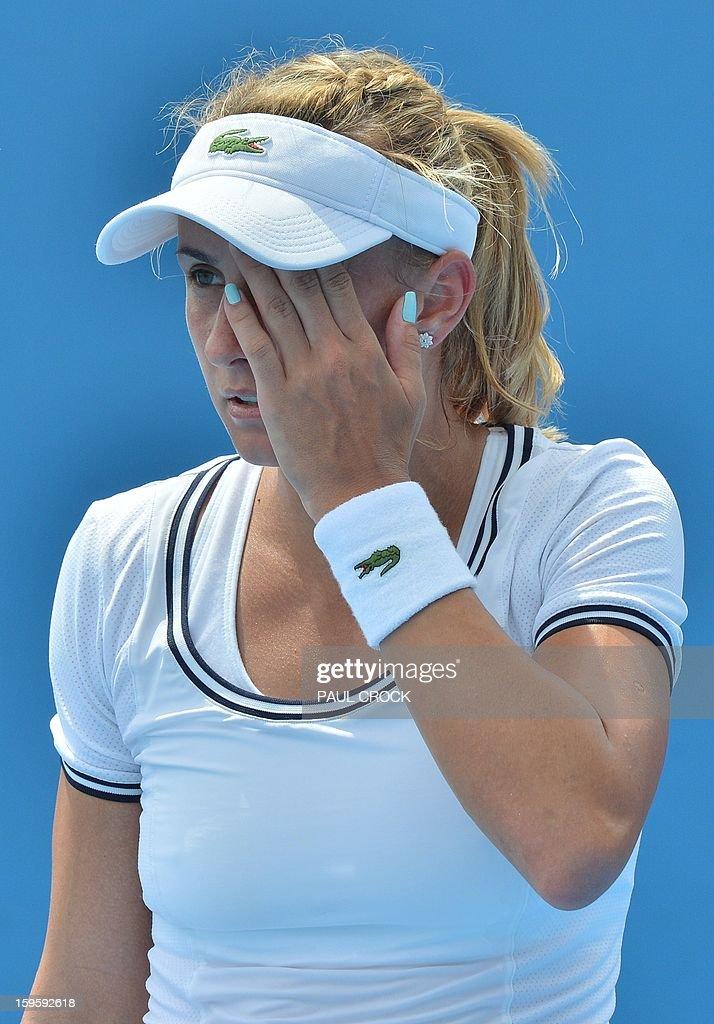 Ukraine's Lesia Tsurenko looks on during her women's singles match against Russia's Daria Gavrilova on day four of the Australian Open tennis tournament in Melbourne on January 17, 2013.