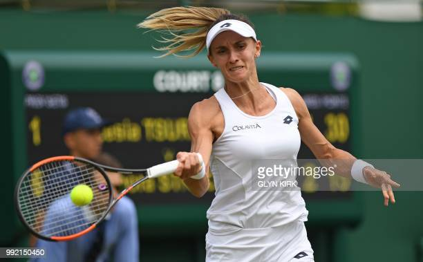 Ukraine's Lesia Tsurenko returns against Czech Republic's Barbora Strycova during their women's singles second round match on the fourth day of the...