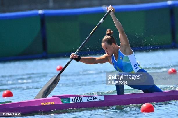 Ukraine's Luidmyla Luzan competes in a semi-final of the women's canoe single 200m event during the Tokyo 2020 Olympic Games at Sea Forest Waterway...