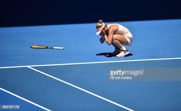Ukraine's Marta Kostyuk celebrates her victory against Australia's Olivia Rogowska during their women's singles second round match on day three of...