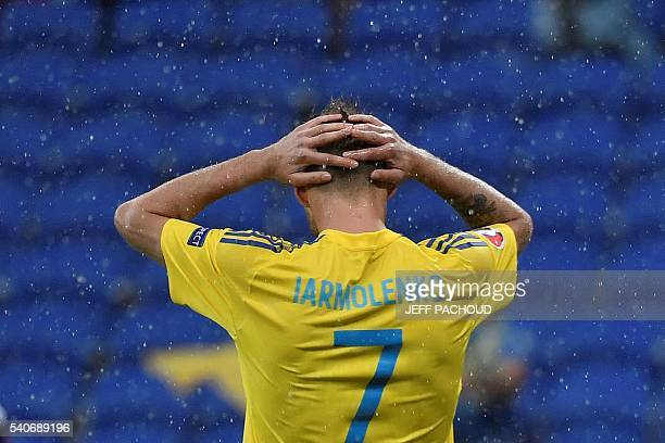 Ukraine's midfielder Andriy Yarmolenko reacts after the Euro 2016 group C football match between Ukraine and Northern Ireland at the Parc Olympique...