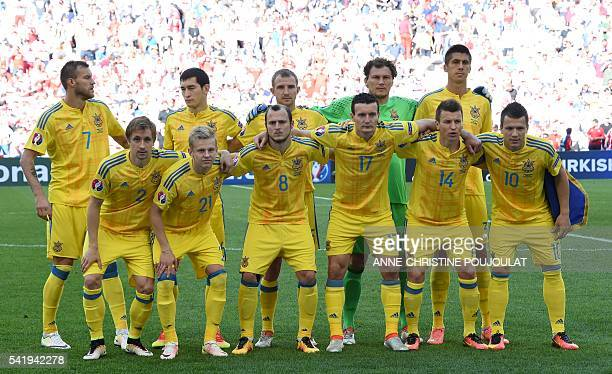 Ukraine's midfielder Andriy Yarmolenko Ukraine's midfielder Taras Stepanenko Ukraine's defender Olexandr Kucher Ukraine's goalkeeper Andriy Pyatov...