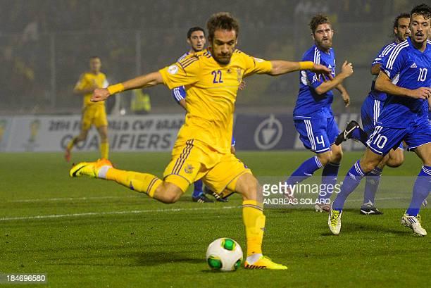 Ukraine's midfielder Marko Devich kicks to score during the FIFA World Cup 2014 qualifying football match San Marino vs Ukraine on October 15 2013 at...
