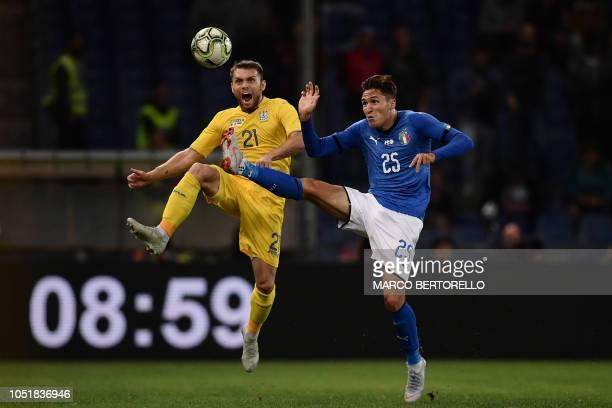 Ukraine's midfielder Oleksandr Karavayev and Italy's forward Federico Chiesa go for the ball during the friendly football match Italy vs Ukraine on...