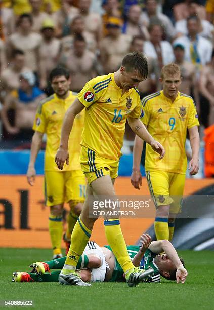 Ukraine's midfielder Serhiy Sydorchuk reacts during the Euro 2016 group C football match between Ukraine and Northern Ireland at the Parc Olympique...