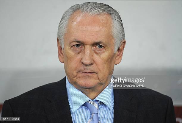 Ukraine's national football team head coach Mikhail Fomenko looks on prior to the UEFA 2016 European Championship qualifying round Group C match...